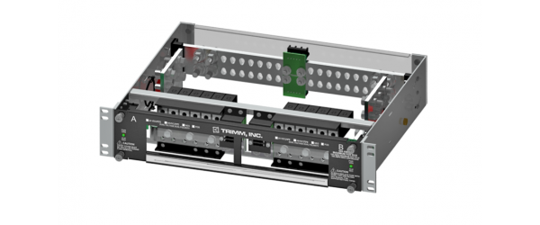 High Current PDU, 6/6 Versa-Slots, 5/5 GMT, Dual Inputs per Bus, 2 Hole Input/Output, Power, Fuse Fail Alarm, 19'' Wide, 2U High