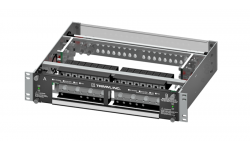 High Current PDU, 8/8 Versa-Slots, Dual Inputs per Bus, 2 Hole Lug Input/Output, Power, Fuse Fail Alarm, 19' Wide, 2U High