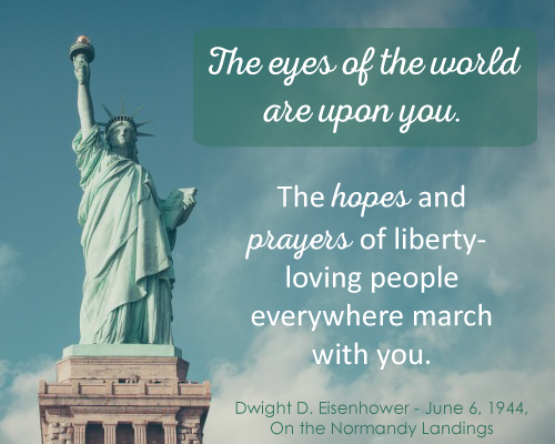 Photo of Statue of Liberty and quote by Dwight D. Eisenhower